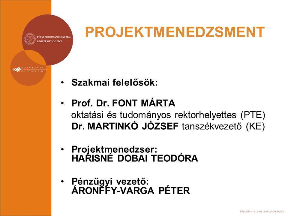 PROJEKTMENEDZSMENT Szakmai felelősök: Prof. Dr. FONT MÁRTA