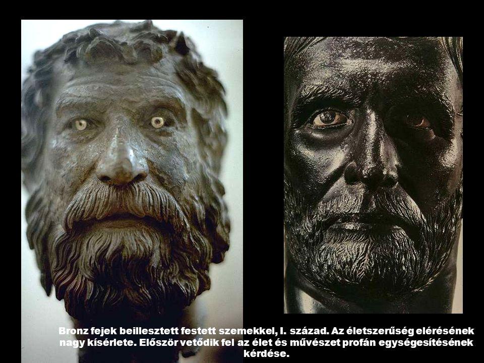 Bronz fejek beillesztett festett szemekkel, I. század