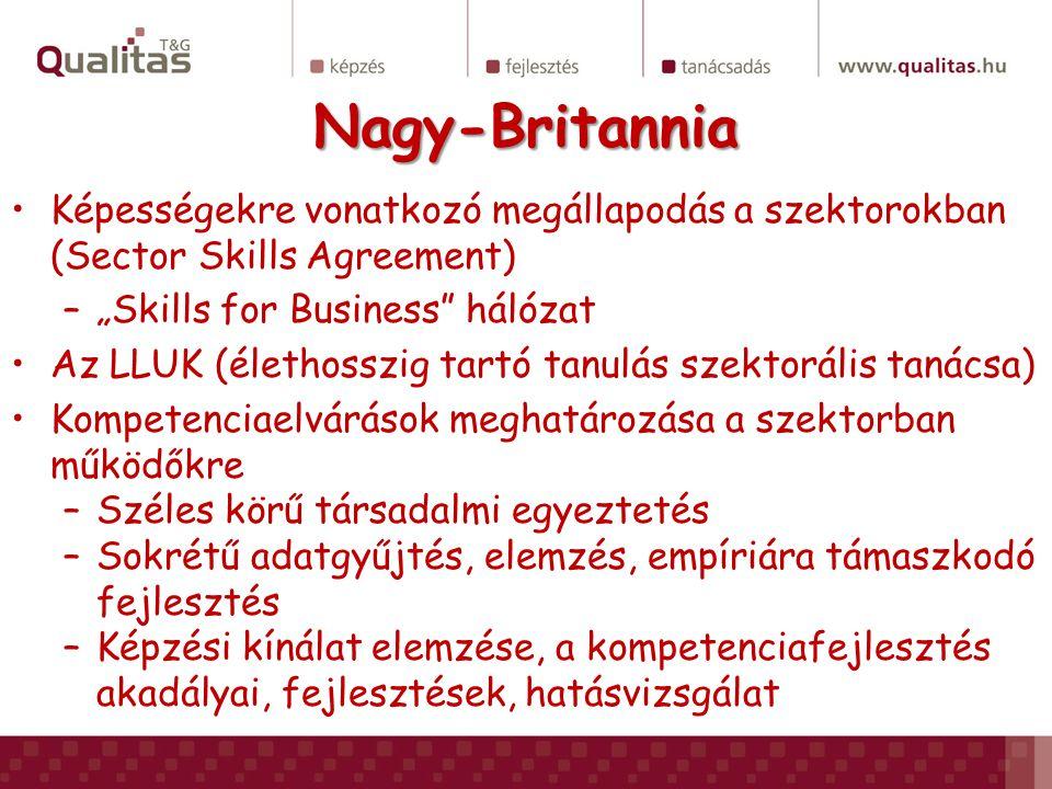 """Nagy-Britannia Képességekre vonatkozó megállapodás a szektorokban (Sector Skills Agreement) """"Skills for Business hálózat."""
