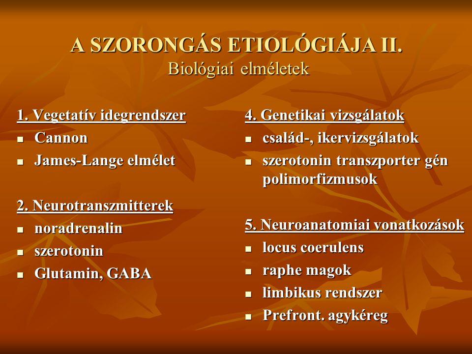 A SZORONGÁS ETIOLÓGIÁJA II. Biológiai elméletek
