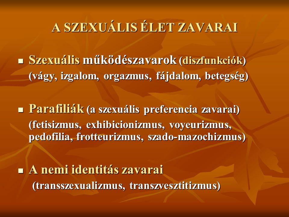 A SZEXUÁLIS ÉLET ZAVARAI