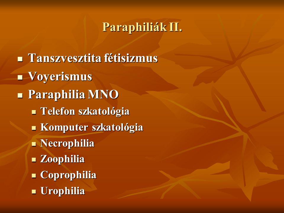 Tanszvesztita fétisizmus Voyerismus Paraphilia MNO