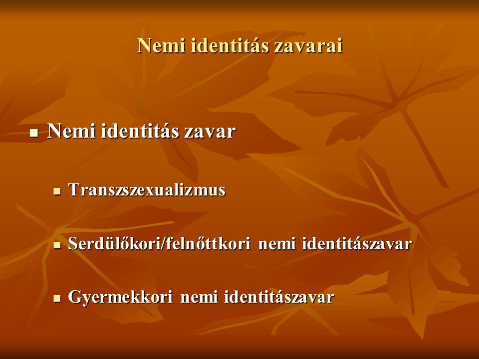 Nemi identitás zavarai