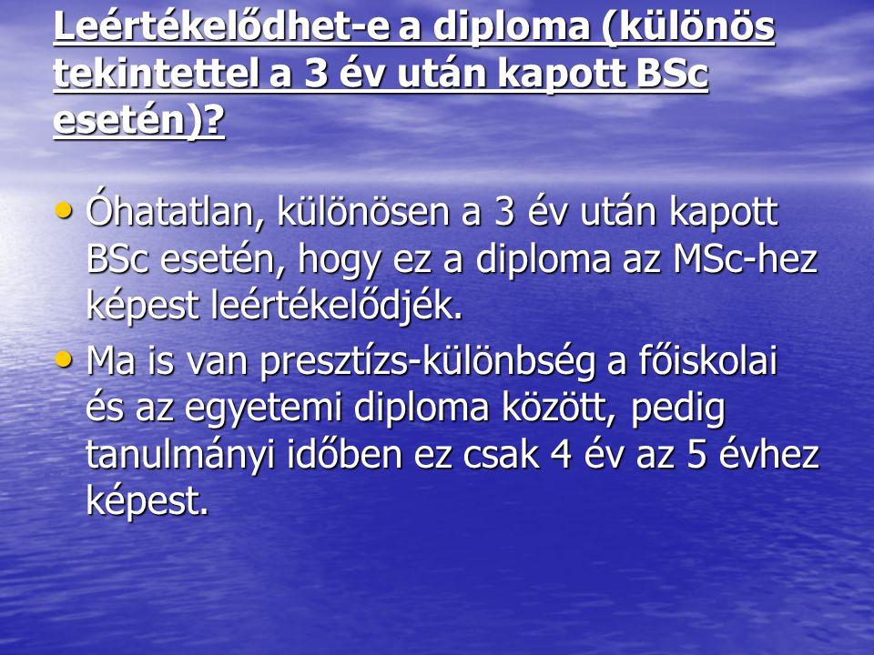 Leértékelődhet-e a diploma (különös tekintettel a 3 év után kapott BSc esetén)