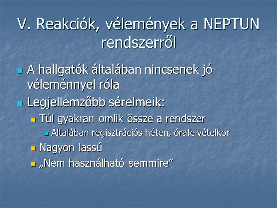 V. Reakciók, vélemények a NEPTUN rendszerről