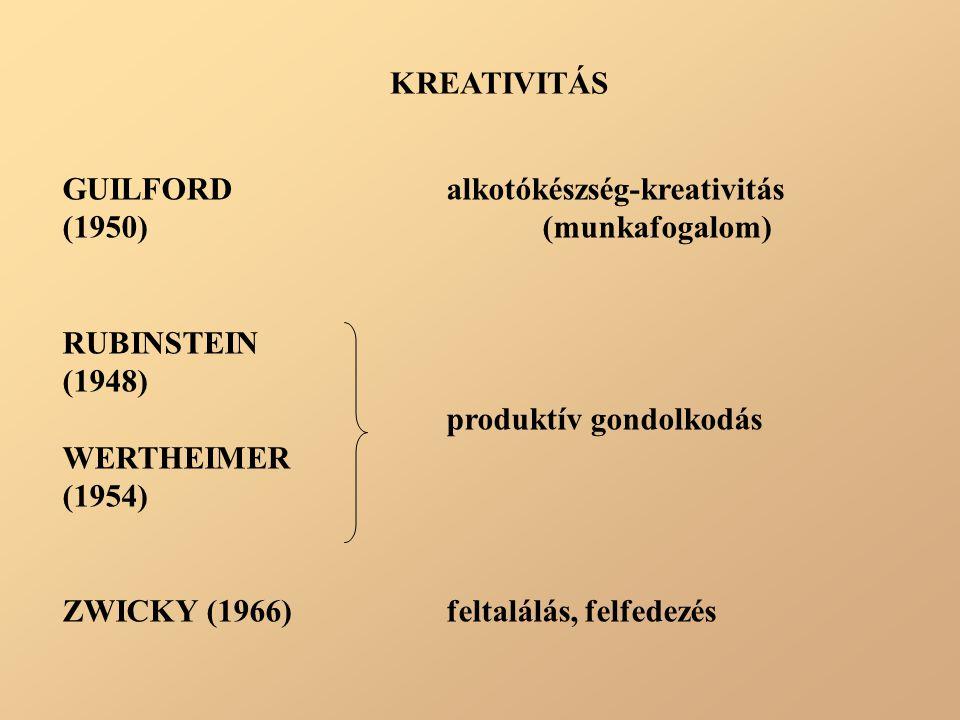 KREATIVITÁS GUILFORD alkotókészség-kreativitás. (1950) (munkafogalom) RUBINSTEIN. (1948) produktív gondolkodás.