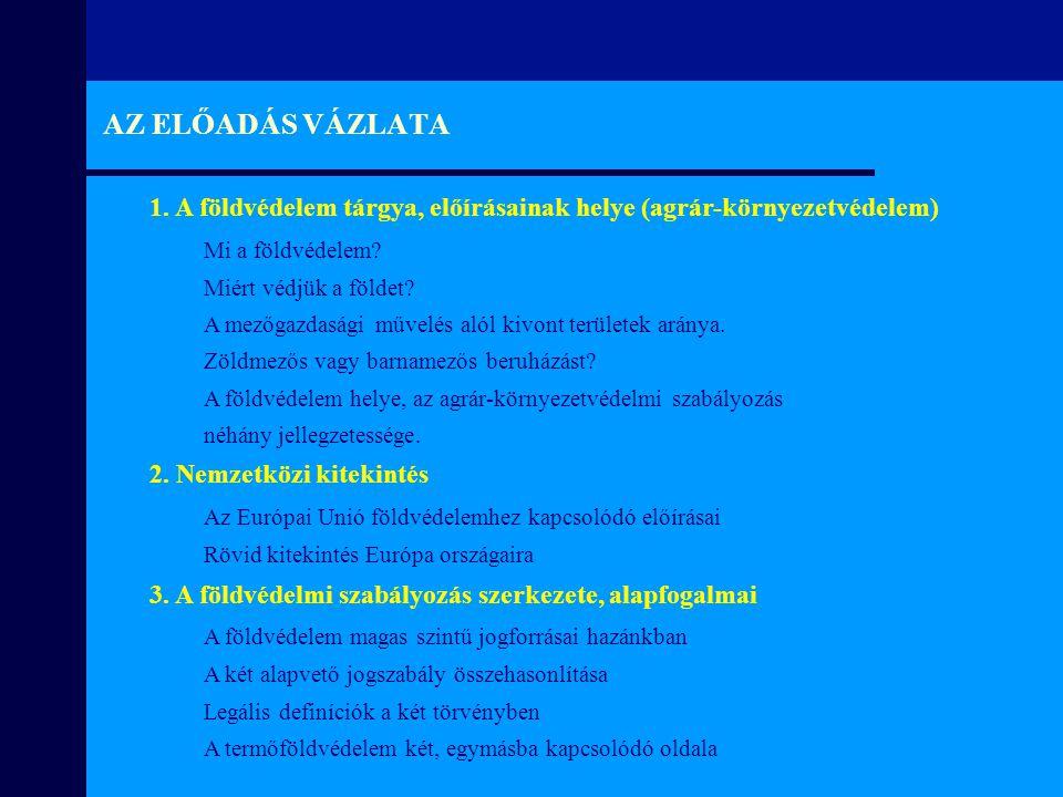 AZ ELŐADÁS VÁZLATA 1. A földvédelem tárgya, előírásainak helye (agrár-környezetvédelem) Mi a földvédelem