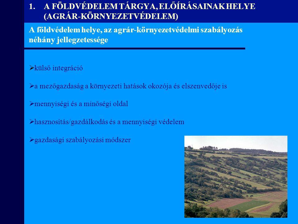 A FÖLDVÉDELEM TÁRGYA, ELŐÍRÁSAINAK HELYE (AGRÁR-KÖRNYEZETVÉDELEM)