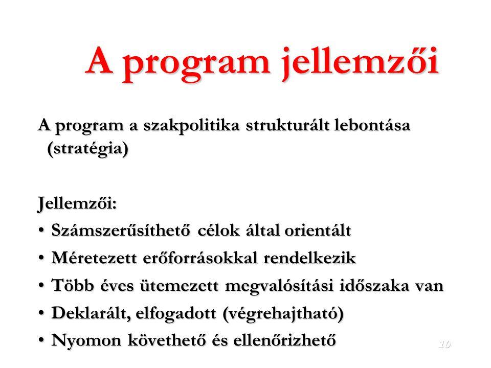 A program jellemzői A program a szakpolitika strukturált lebontása (stratégia) Jellemzői: Számszerűsíthető célok által orientált.