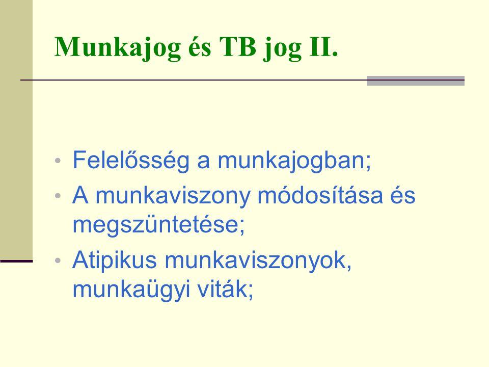 Munkajog és TB jog II. Felelősség a munkajogban;