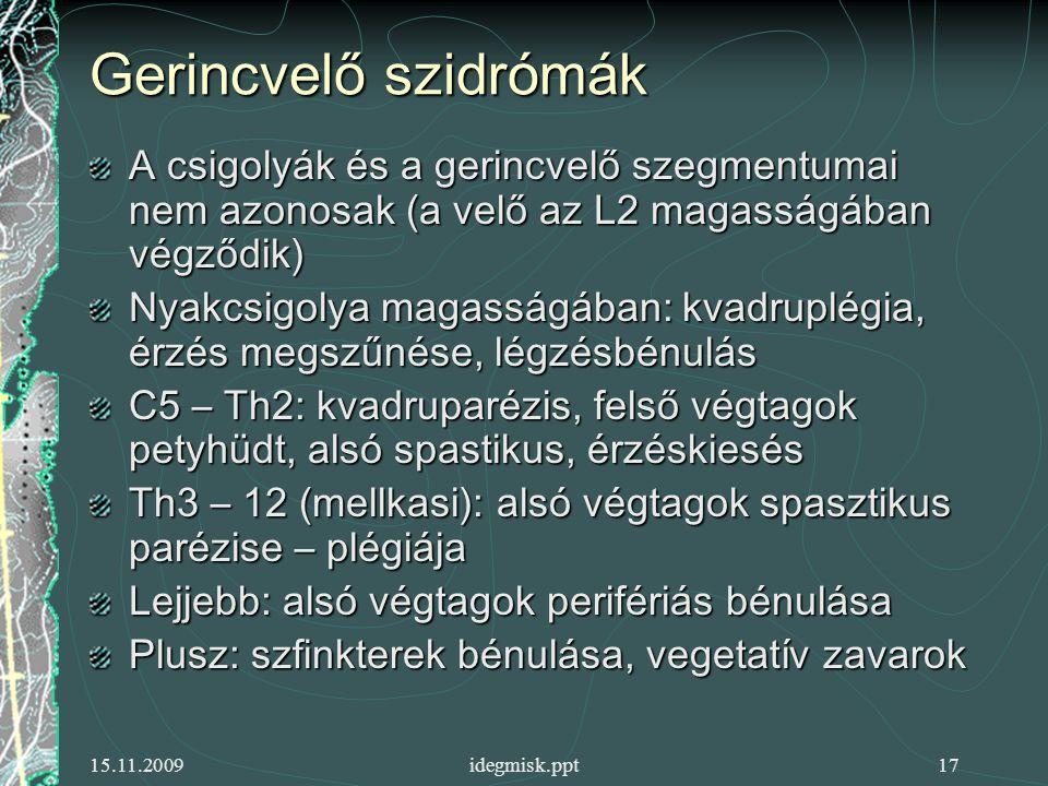 Gerincvelő szidrómák A csigolyák és a gerincvelő szegmentumai nem azonosak (a velő az L2 magasságában végződik)