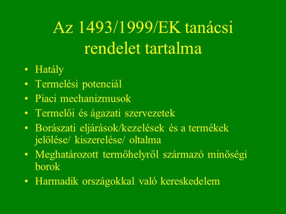 Az 1493/1999/EK tanácsi rendelet tartalma