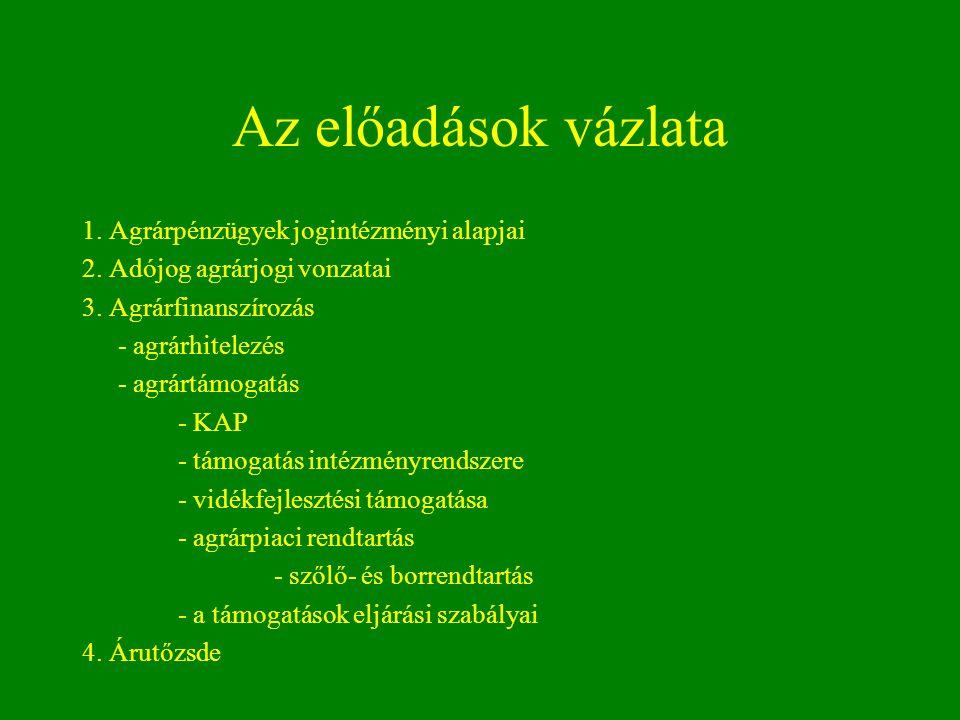 Az előadások vázlata 1. Agrárpénzügyek jogintézményi alapjai