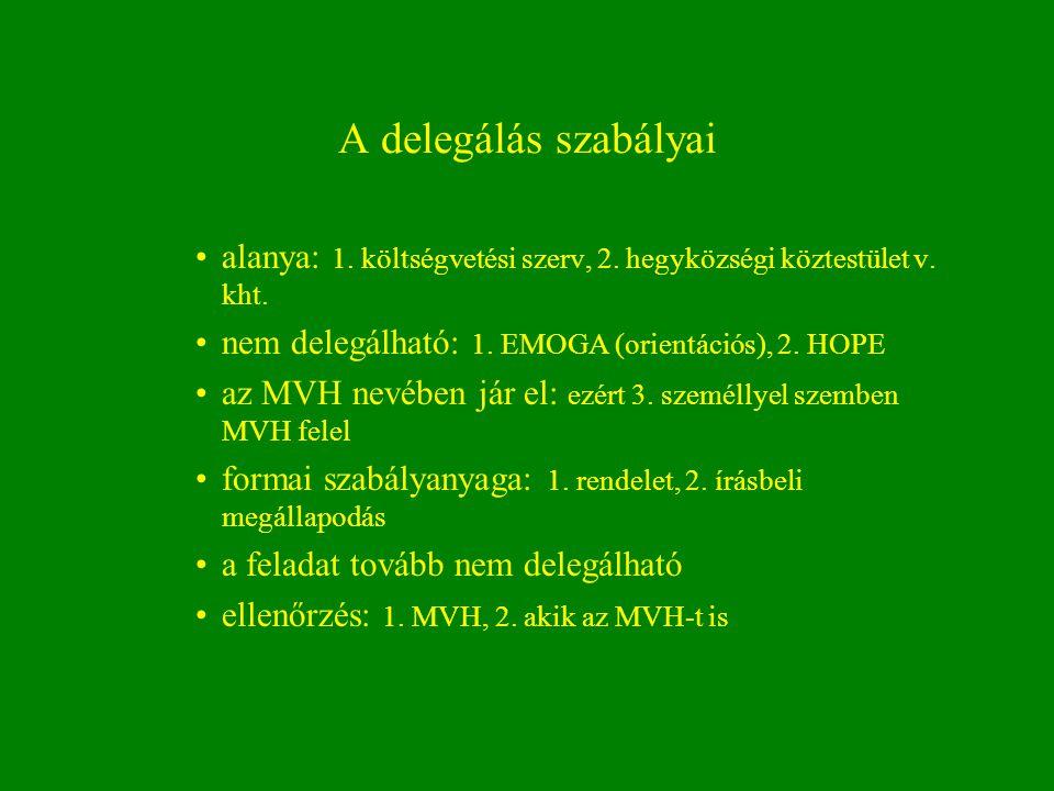 A delegálás szabályai alanya: 1. költségvetési szerv, 2. hegyközségi köztestület v. kht. nem delegálható: 1. EMOGA (orientációs), 2. HOPE.
