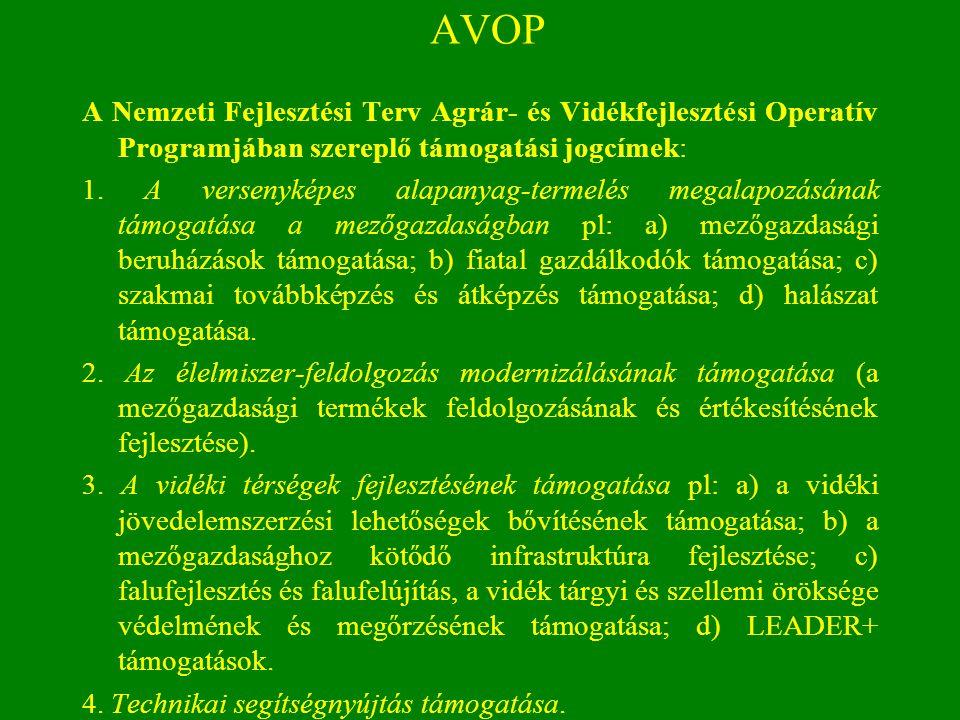 AVOP A Nemzeti Fejlesztési Terv Agrár- és Vidékfejlesztési Operatív Programjában szereplő támogatási jogcímek: