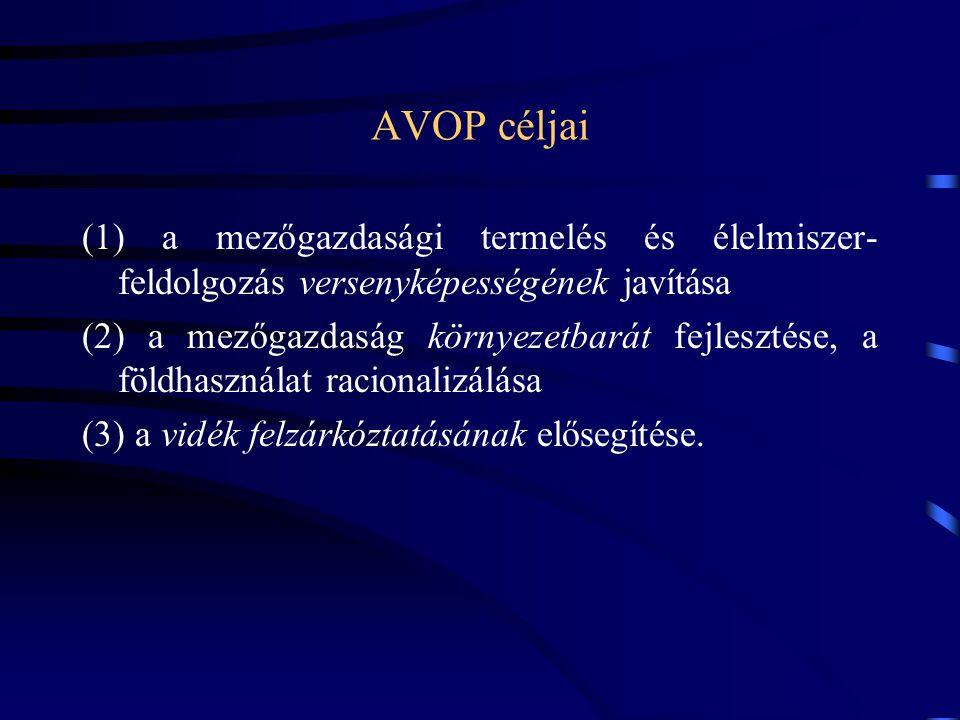 AVOP céljai (1) a mezőgazdasági termelés és élelmiszer-feldolgozás versenyképességének javítása.
