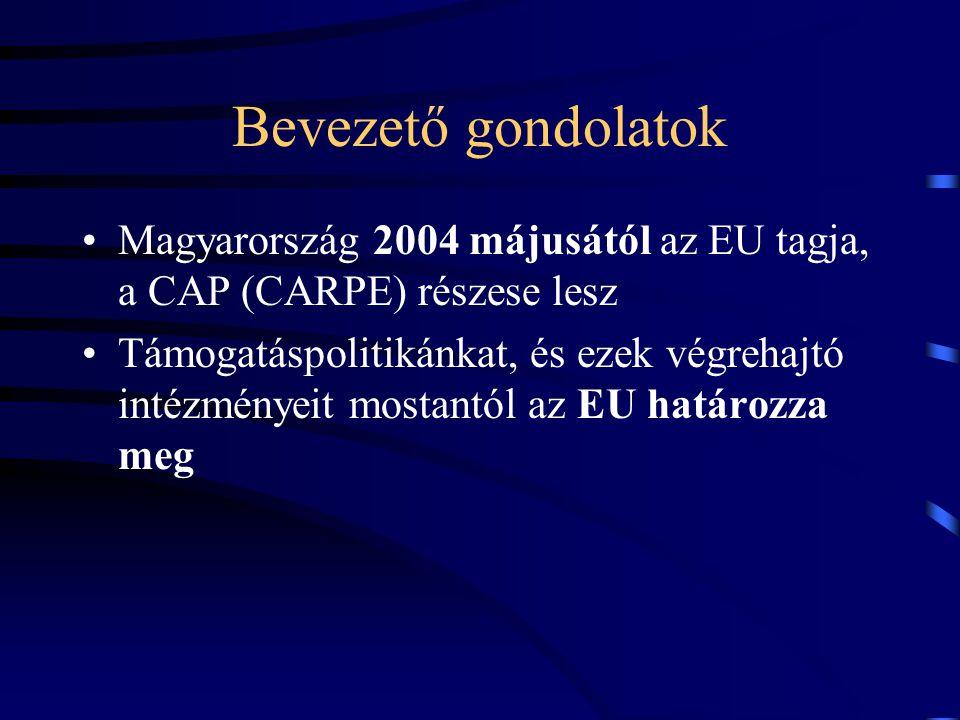 Bevezető gondolatok Magyarország 2004 májusától az EU tagja, a CAP (CARPE) részese lesz.
