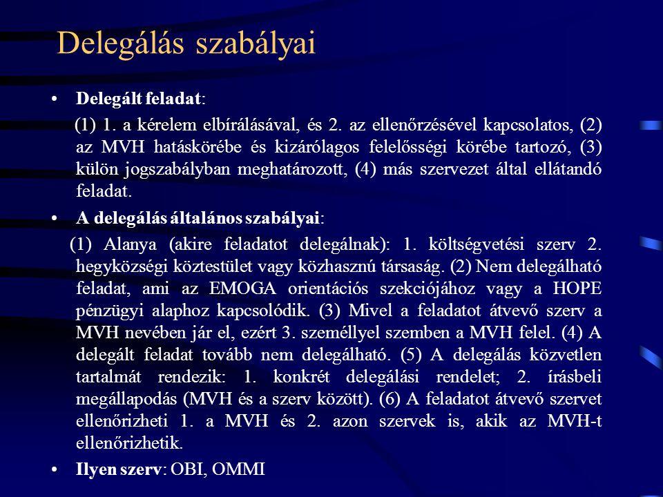 Delegálás szabályai Delegált feladat: