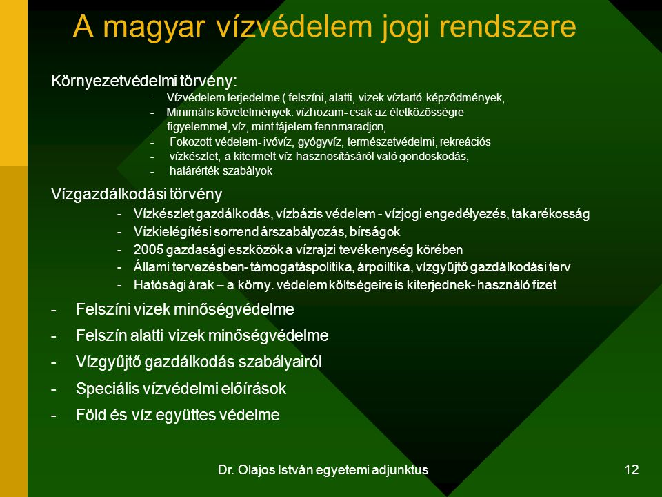 A magyar vízvédelem jogi rendszere