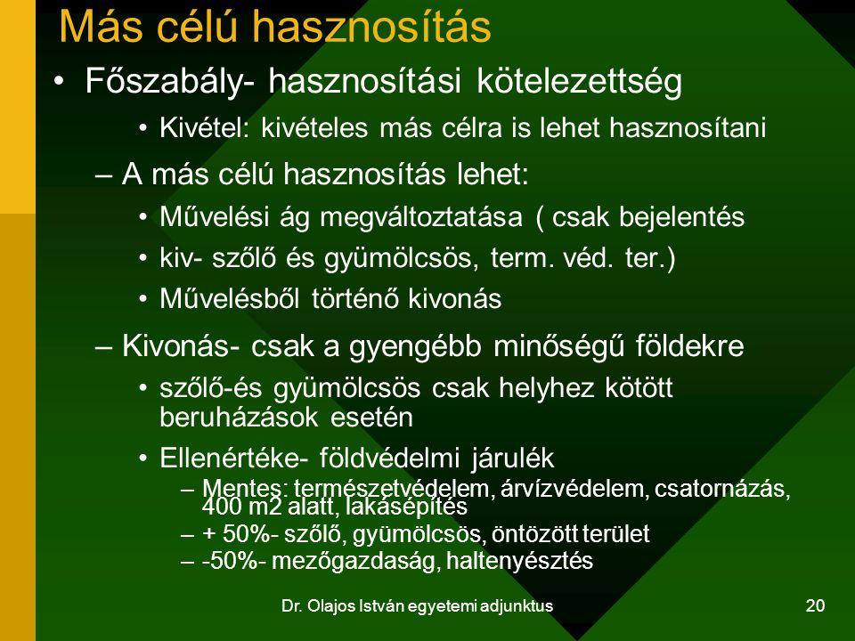 Dr. Olajos István egyetemi adjunktus