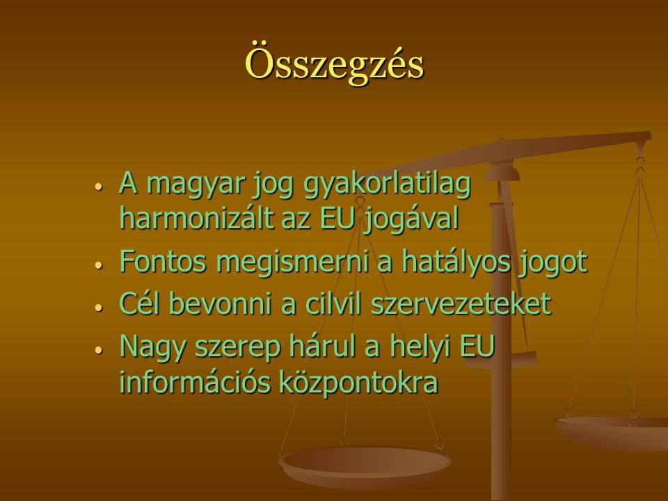 Összegzés A magyar jog gyakorlatilag harmonizált az EU jogával