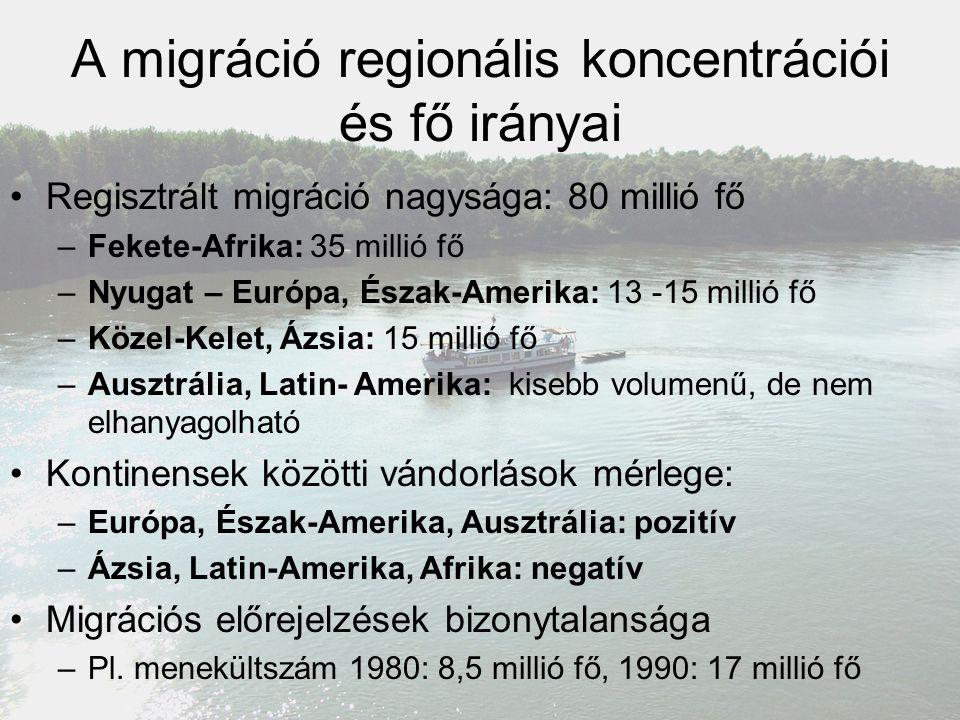 A migráció regionális koncentrációi és fő irányai