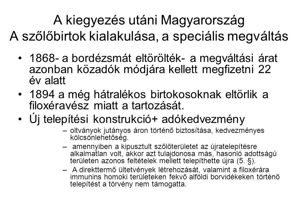 A kiegyezés utáni Magyarország A szőlőbirtok kialakulása, a speciális megváltás