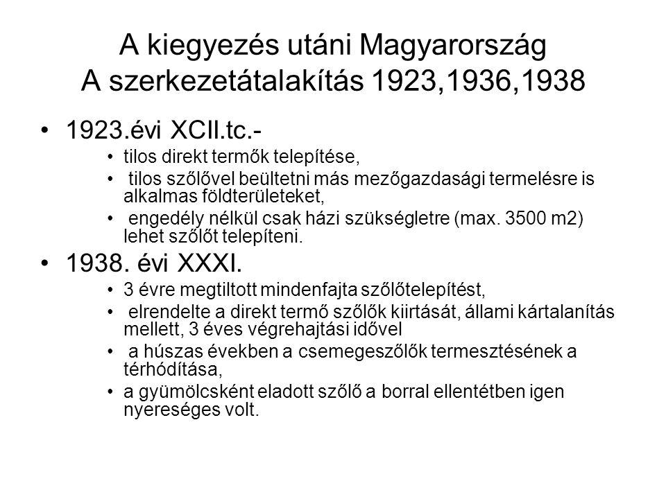 A kiegyezés utáni Magyarország A szerkezetátalakítás 1923,1936,1938