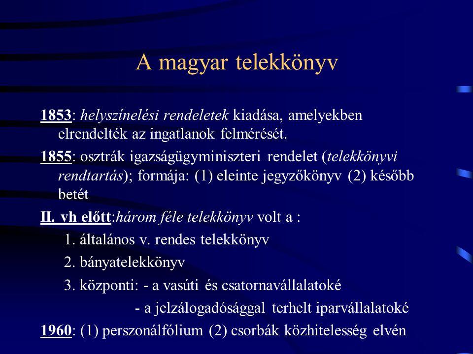 A magyar telekkönyv 1853: helyszínelési rendeletek kiadása, amelyekben elrendelték az ingatlanok felmérését.