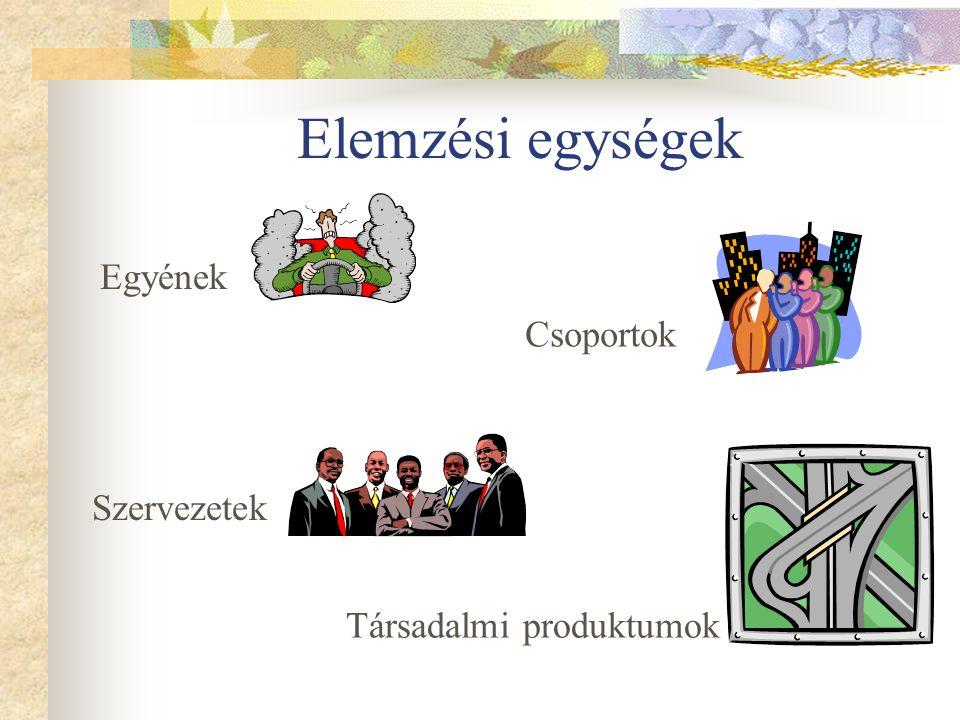 Elemzési egységek Egyének Csoportok Szervezetek Társadalmi produktumok