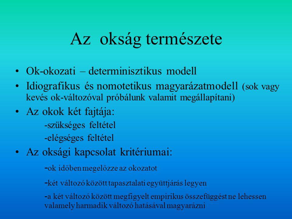 Az okság természete Ok-okozati – determinisztikus modell