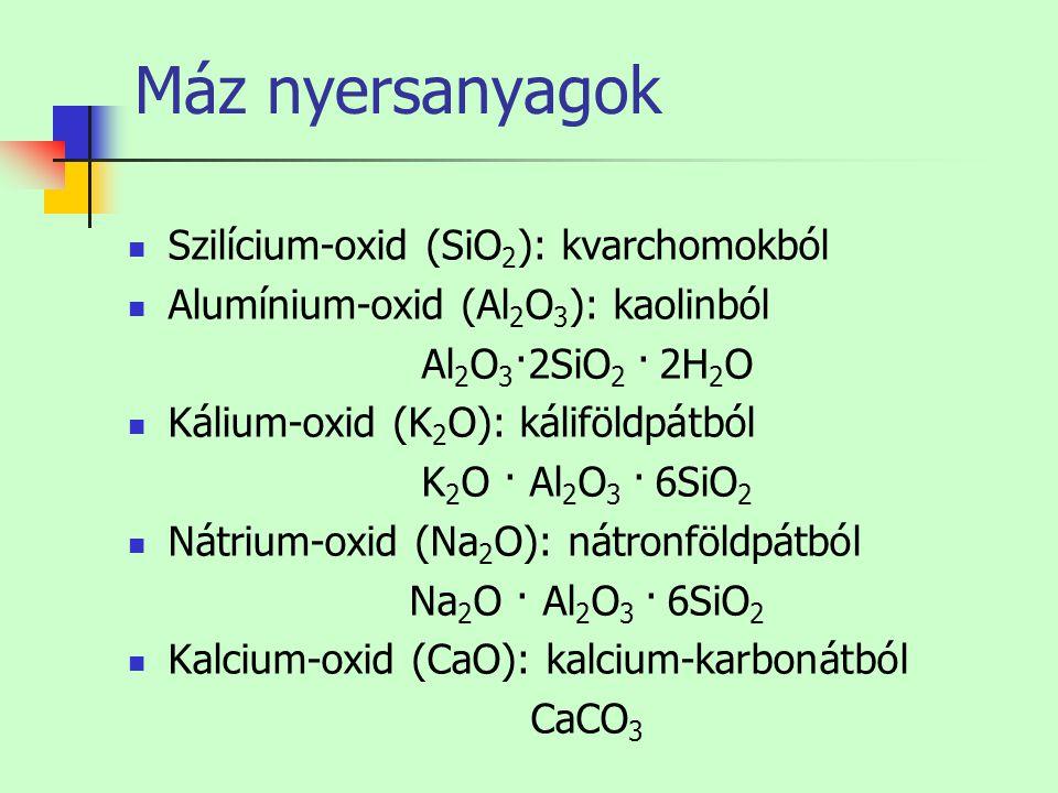 Máz nyersanyagok Szilícium-oxid (SiO2): kvarchomokból