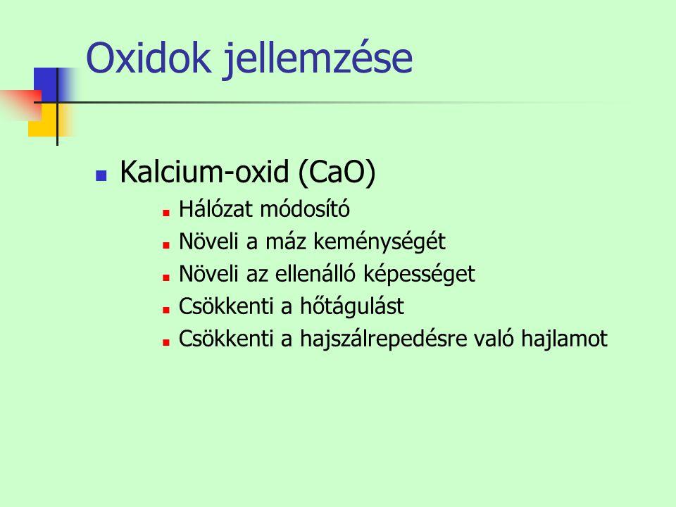 Oxidok jellemzése Kalcium-oxid (CaO) Hálózat módosító