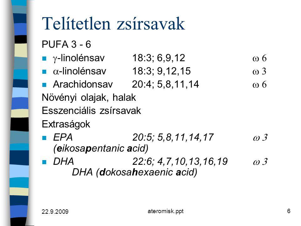 Telítetlen zsírsavak PUFA 3 - 6 g-linolénsav 18:3; 6,9,12 w 6