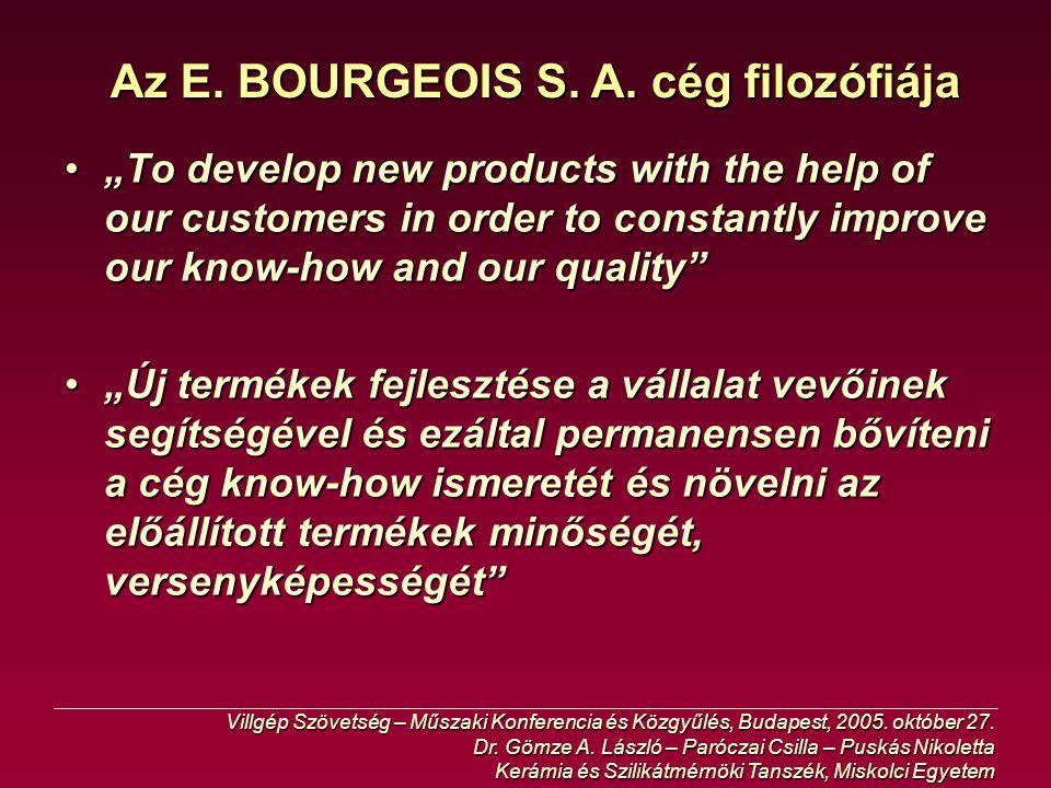 Az E. BOURGEOIS S. A. cég filozófiája
