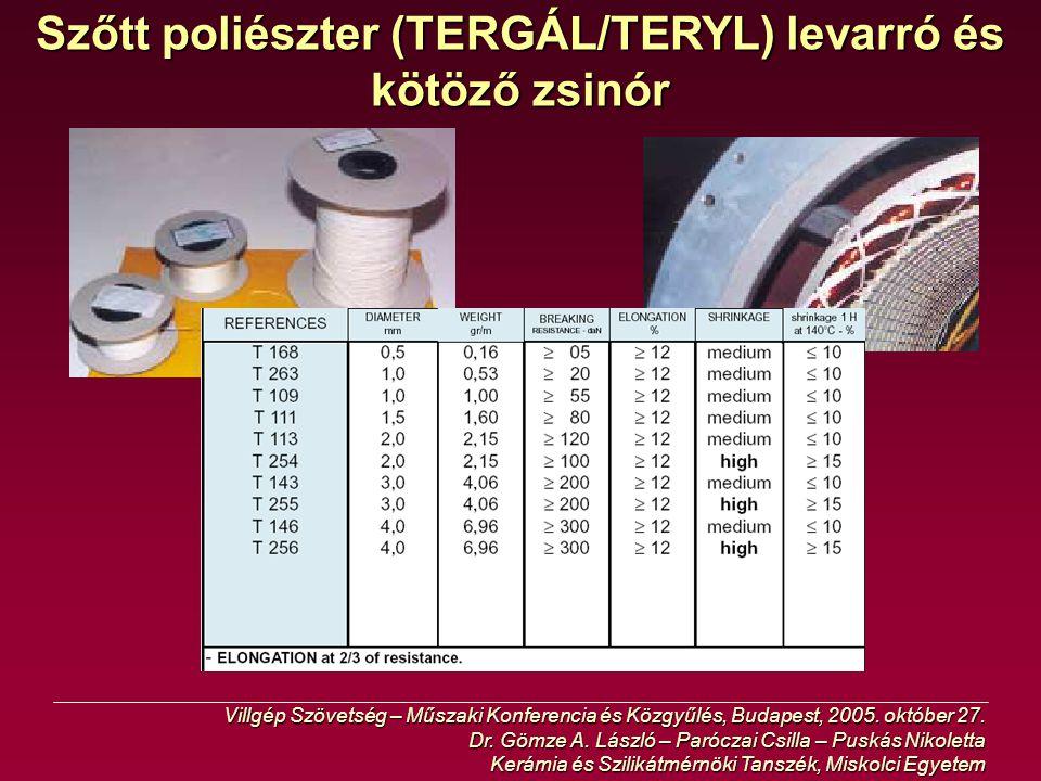 Szőtt poliészter (TERGÁL/TERYL) levarró és kötöző zsinór
