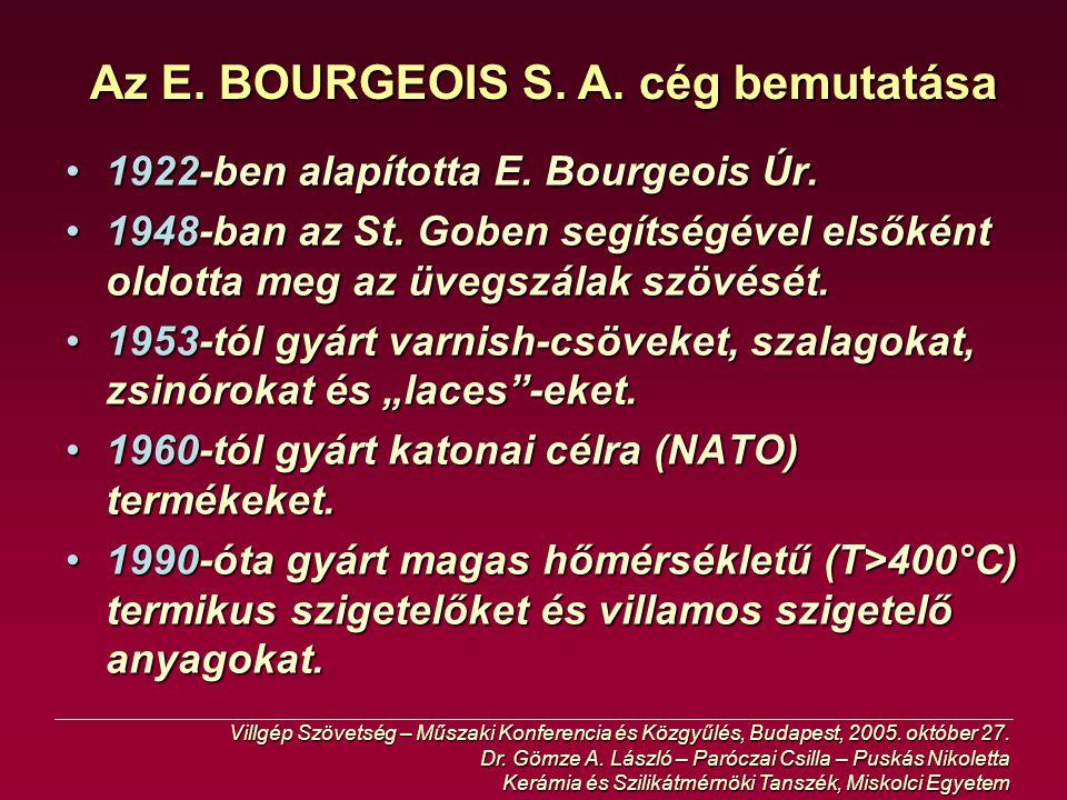 Az E. BOURGEOIS S. A. cég bemutatása