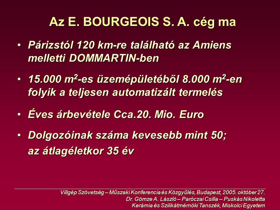 Az E. BOURGEOIS S. A. cég ma Párizstól 120 km-re található az Amiens melletti DOMMARTIN-ben.