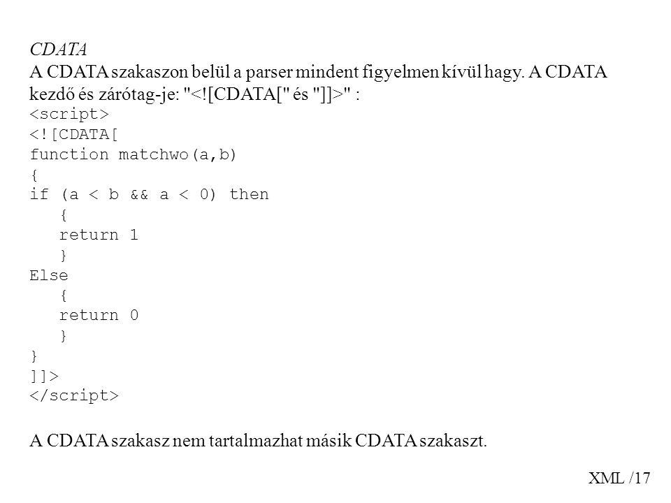 A CDATA szakasz nem tartalmazhat másik CDATA szakaszt.