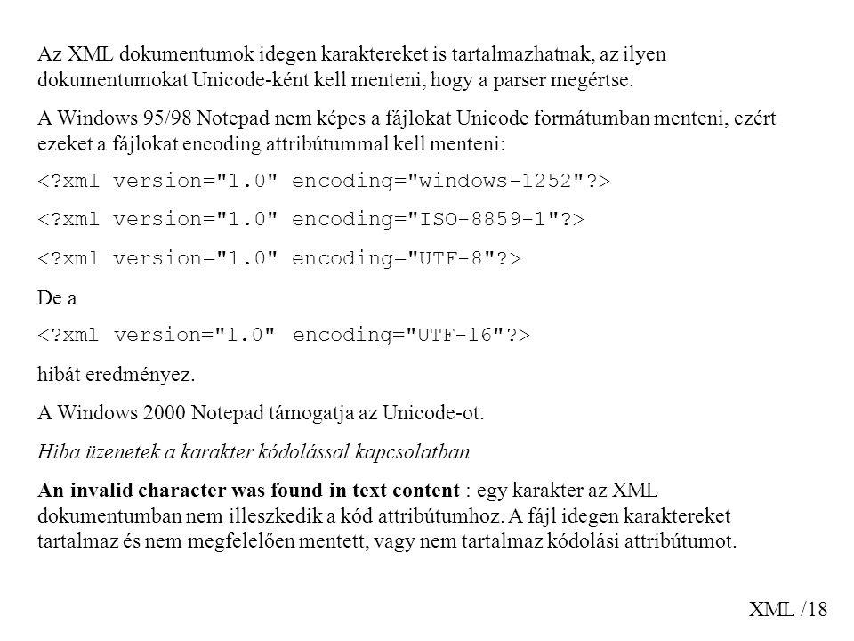 Az XML dokumentumok idegen karaktereket is tartalmazhatnak, az ilyen dokumentumokat Unicode-ként kell menteni, hogy a parser megértse.