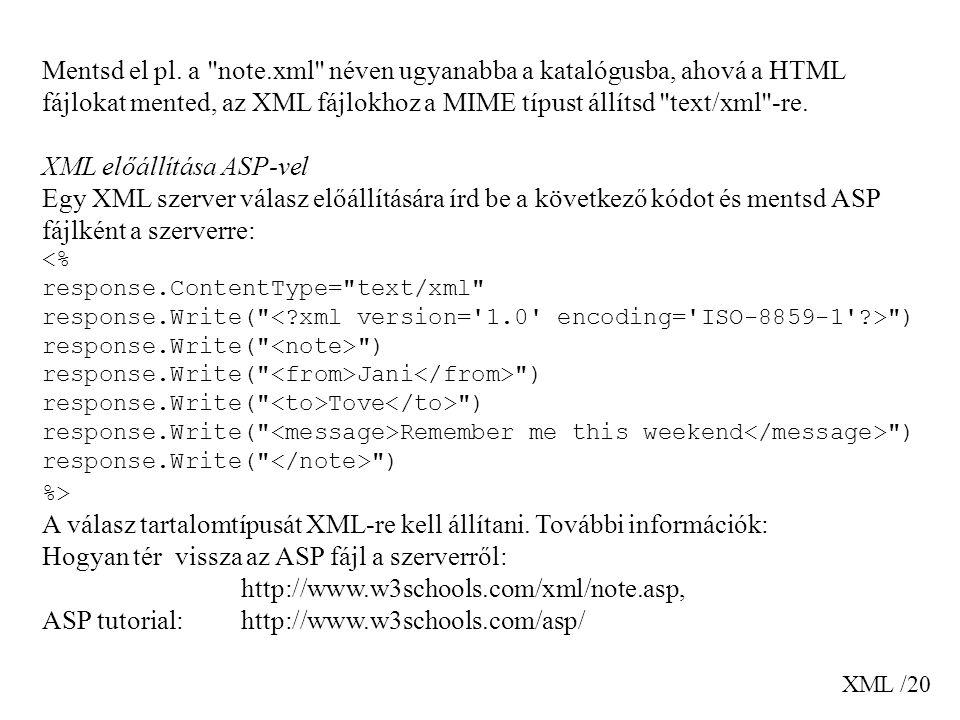 XML előállítása ASP-vel