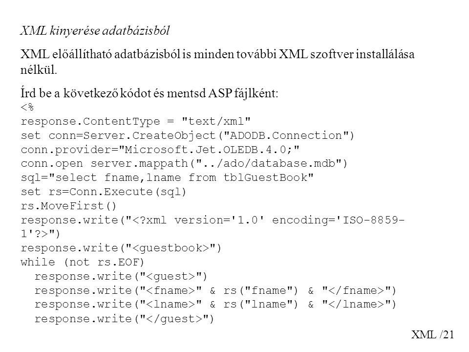 XML kinyerése adatbázisból