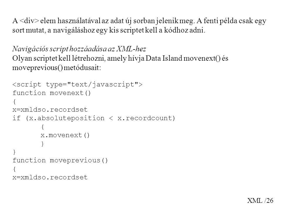 Navigációs script hozzáadása az XML-hez