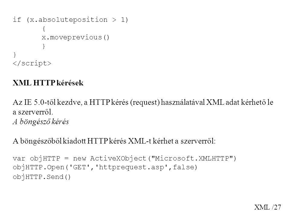 A böngészőből kiadott HTTP kérés XML-t kérhet a szerverről: