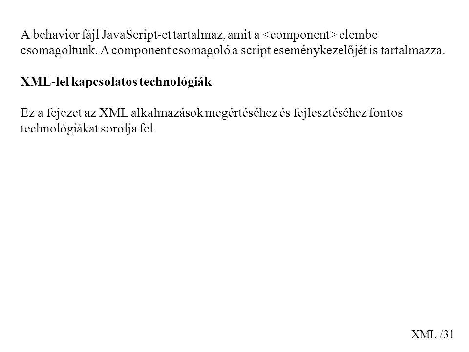 XML-lel kapcsolatos technológiák
