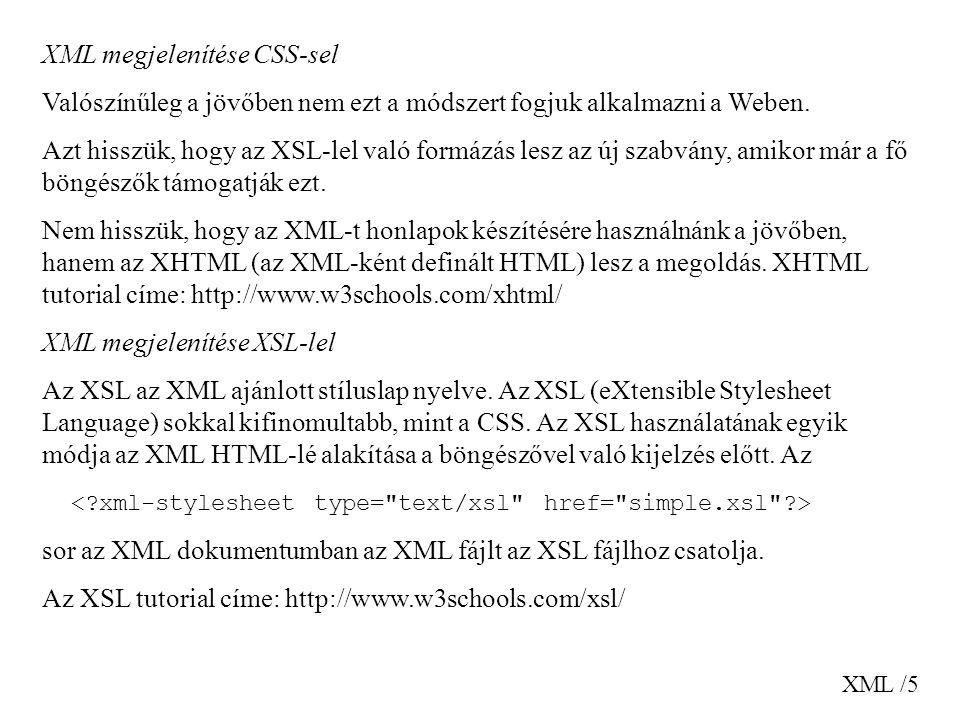 XML megjelenítése CSS-sel