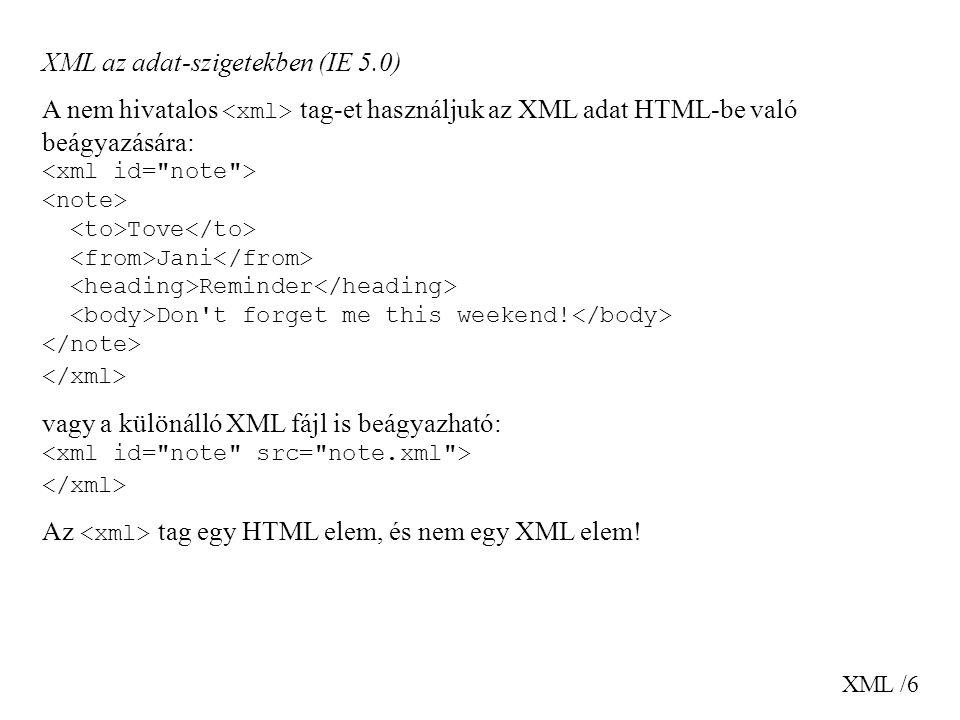 XML az adat-szigetekben (IE 5.0)