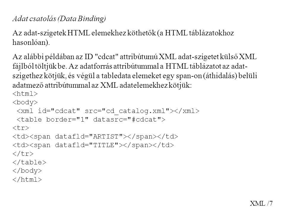 Adat csatolás (Data Binding)