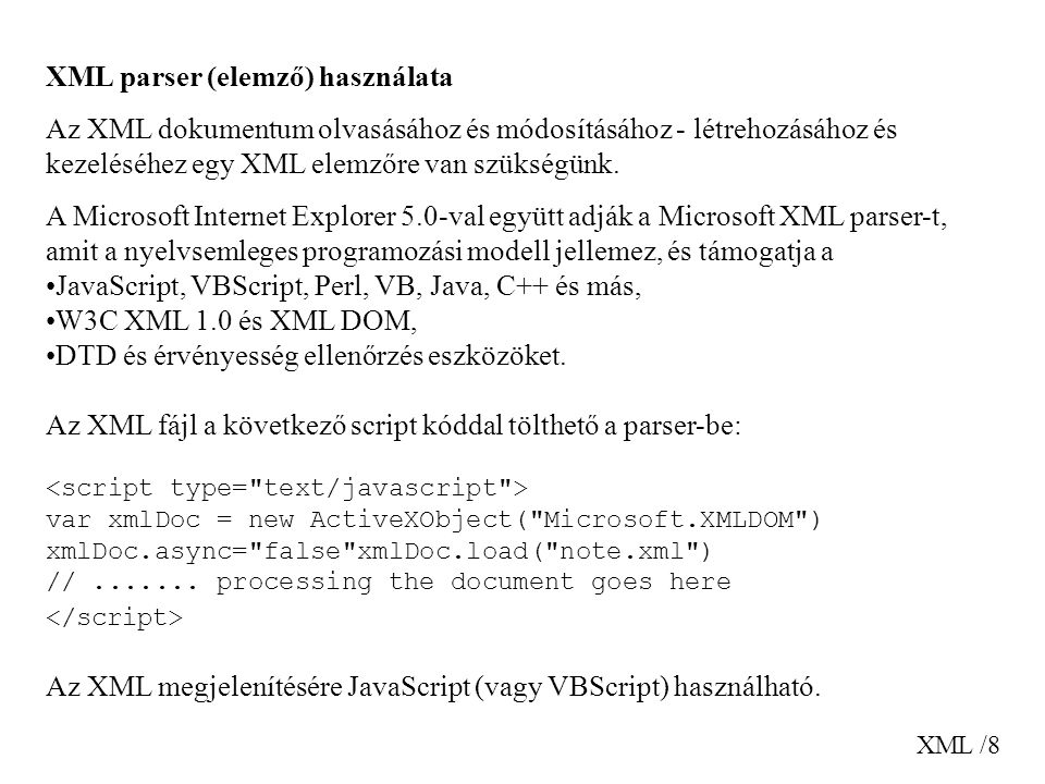 XML parser (elemző) használata