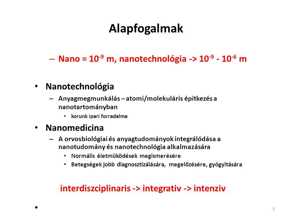 Alapfogalmak Nano = 10-9 m, nanotechnológia -> 10-9 - 10-6 m 10-9 méter. Nanotechnológia.